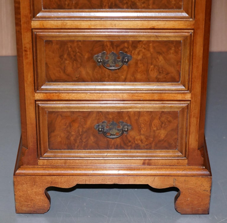 Stunning Rare Burr Walnut Green Leather Twin Pedestal Partner Desk Mouse Shelf For Sale 3