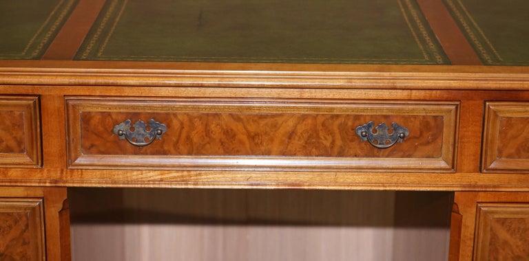 Stunning Rare Burr Walnut Green Leather Twin Pedestal Partner Desk Mouse Shelf For Sale 4