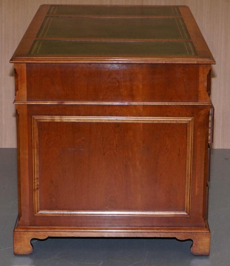 Stunning Rare Burr Walnut Green Leather Twin Pedestal Partner Desk Mouse Shelf For Sale 5