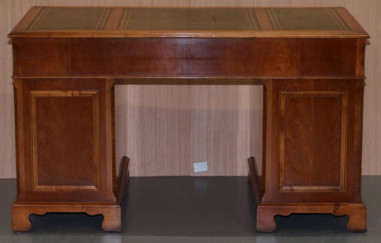 Stunning Rare Burr Walnut Green Leather Twin Pedestal Partner Desk Mouse Shelf For Sale 6