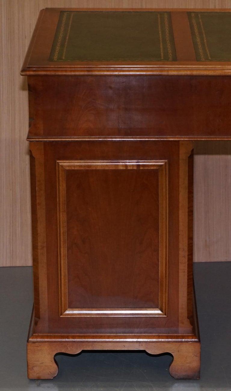 Stunning Rare Burr Walnut Green Leather Twin Pedestal Partner Desk Mouse Shelf For Sale 7