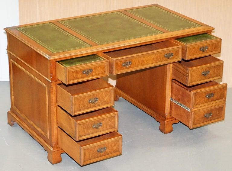 Stunning Rare Burr Walnut Green Leather Twin Pedestal Partner Desk Mouse Shelf For Sale 9
