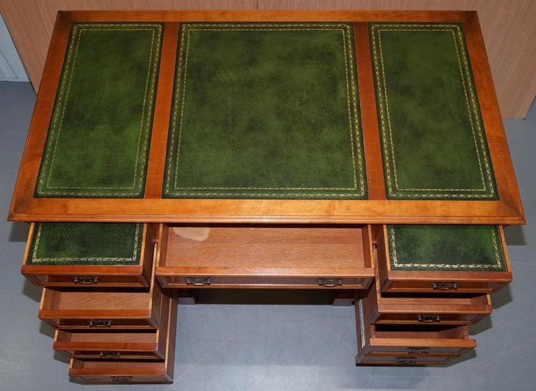 Stunning Rare Burr Walnut Green Leather Twin Pedestal Partner Desk Mouse Shelf For Sale 10
