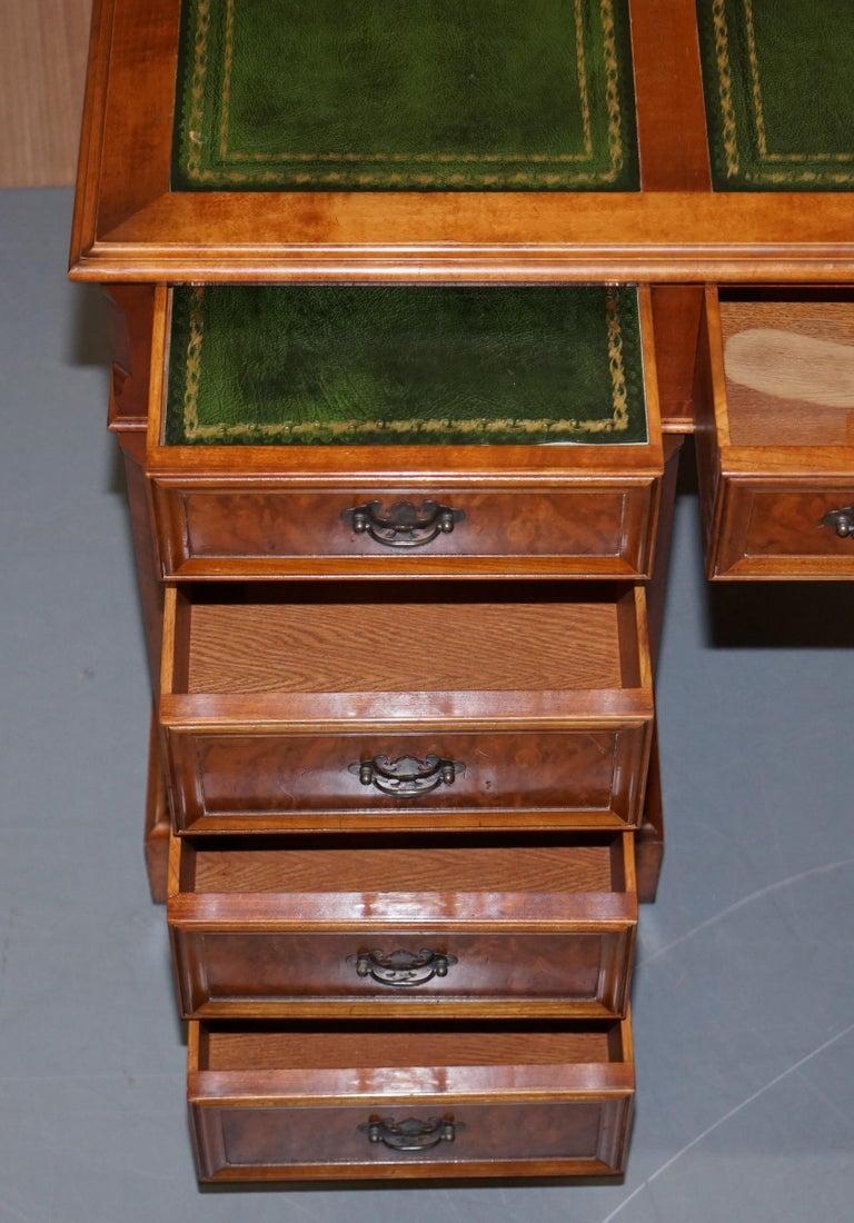 Stunning Rare Burr Walnut Green Leather Twin Pedestal Partner Desk Mouse Shelf For Sale 11