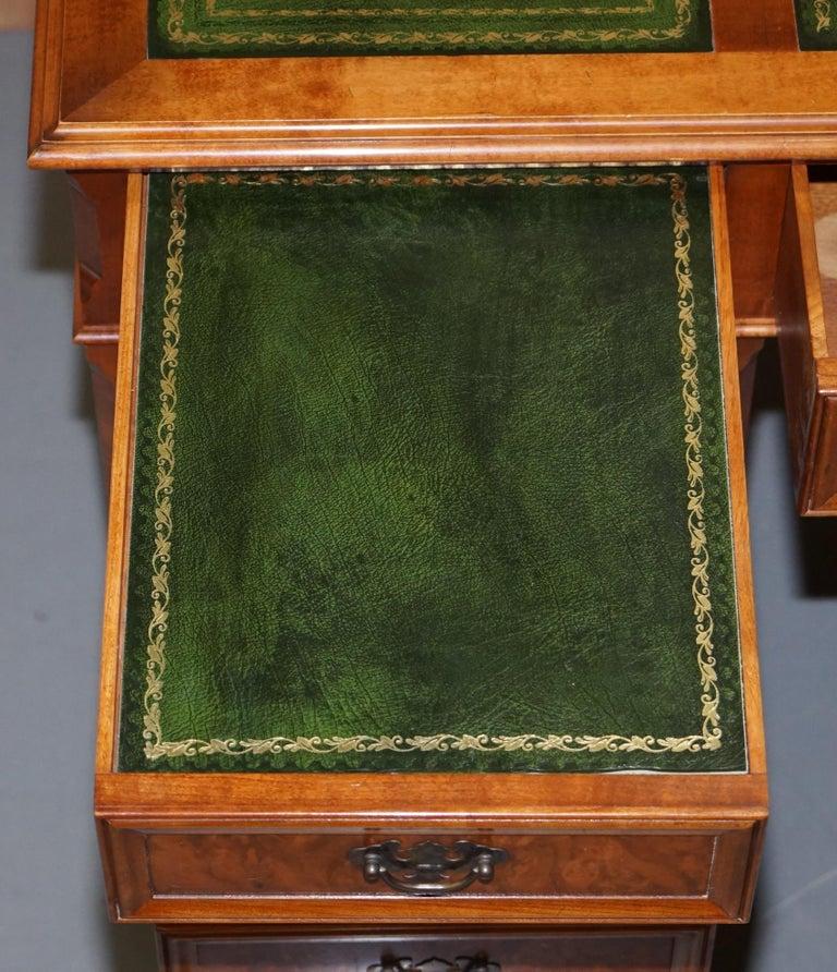 Stunning Rare Burr Walnut Green Leather Twin Pedestal Partner Desk Mouse Shelf For Sale 12