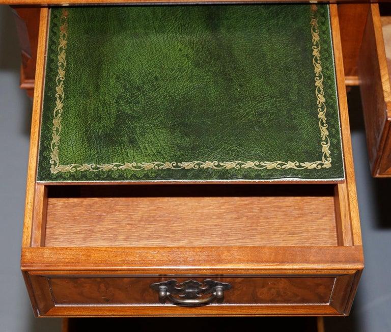 Stunning Rare Burr Walnut Green Leather Twin Pedestal Partner Desk Mouse Shelf For Sale 13