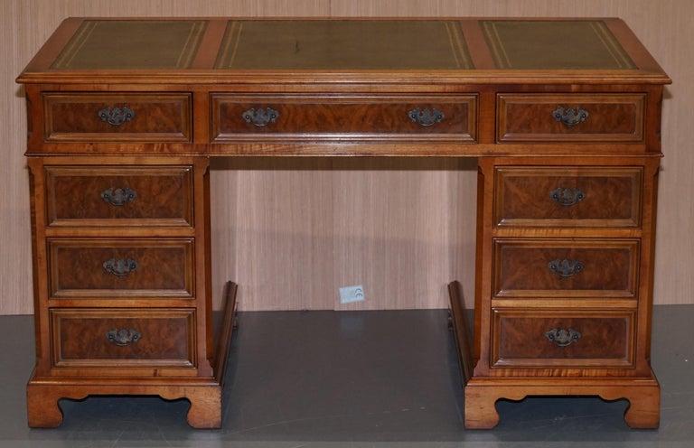 Modern Stunning Rare Burr Walnut Green Leather Twin Pedestal Partner Desk Mouse Shelf For Sale