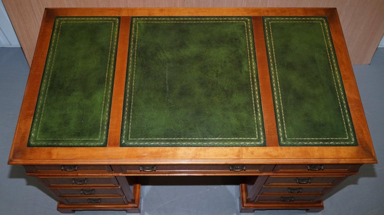 English Stunning Rare Burr Walnut Green Leather Twin Pedestal Partner Desk Mouse Shelf For Sale