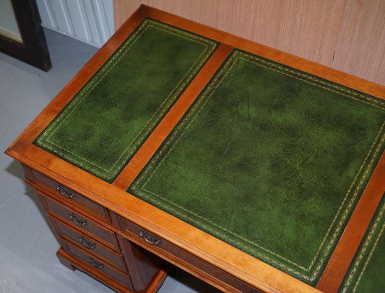 Hand-Crafted Stunning Rare Burr Walnut Green Leather Twin Pedestal Partner Desk Mouse Shelf For Sale