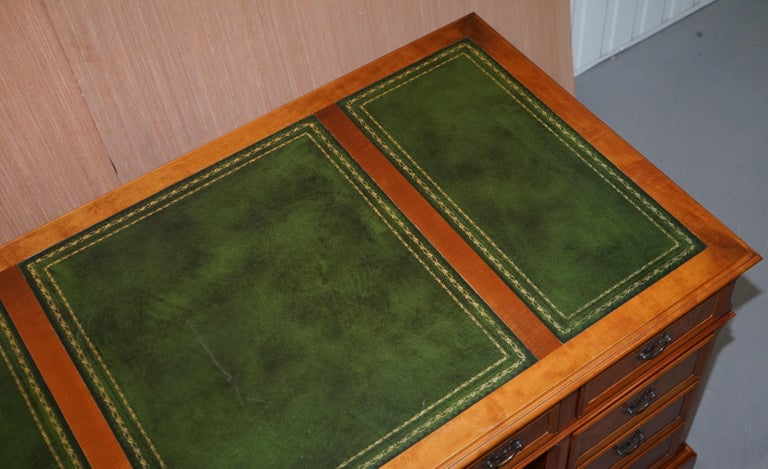 Stunning Rare Burr Walnut Green Leather Twin Pedestal Partner Desk Mouse Shelf In Good Condition For Sale In London, GB