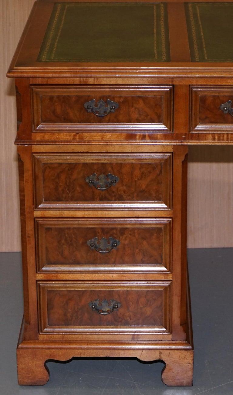 Stunning Rare Burr Walnut Green Leather Twin Pedestal Partner Desk Mouse Shelf For Sale 1