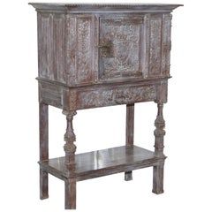 Stunning Rare Find 17th Century Limed Oak Pot Kitchen Cupboard Hand-Carved