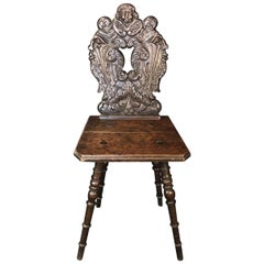 Stunning Rare Oak British Chair with Beautifully Carved Back