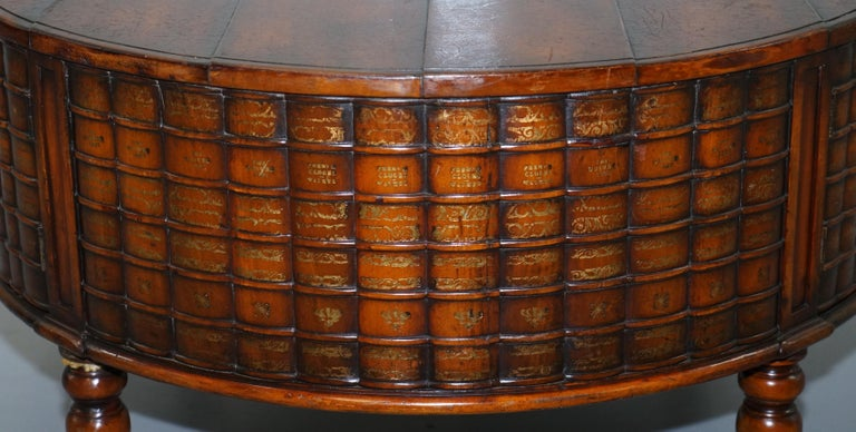 Stunning Rare Regency Style Drum Coffee Table Scholars Books Theodore Alexander For Sale 8