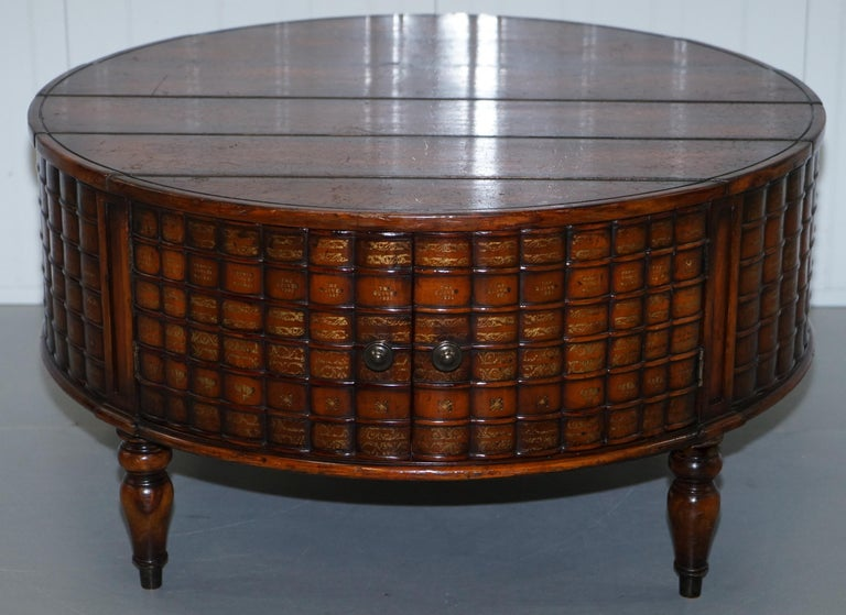Stunning Rare Regency Style Drum Coffee Table Scholars Books Theodore Alexander For Sale 9