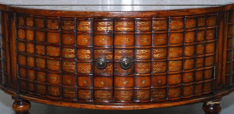 Stunning Rare Regency Style Drum Coffee Table Scholars Books Theodore Alexander For Sale 10