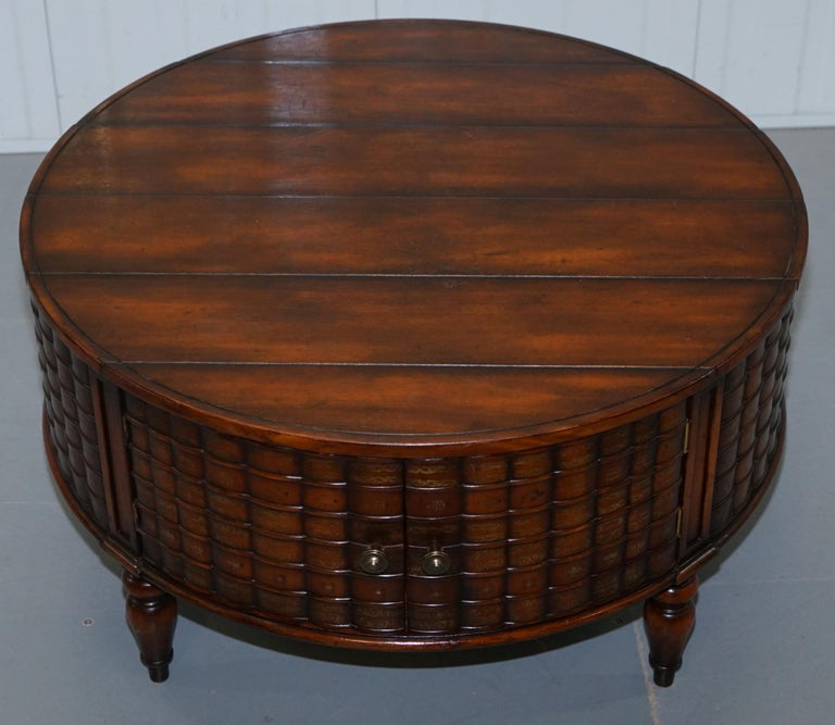 Unknown Stunning Rare Regency Style Drum Coffee Table Scholars Books Theodore Alexander For Sale