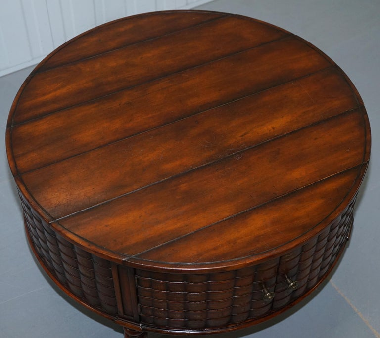 Hand-Crafted Stunning Rare Regency Style Drum Coffee Table Scholars Books Theodore Alexander For Sale