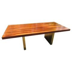 Stunning Rare Rosewood and Brass Platform Desk by Roger Sprunger for Dunbar