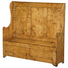 Stunning & Rare Victorian Satinwood Settle Bench or Pew with Internal Storage
