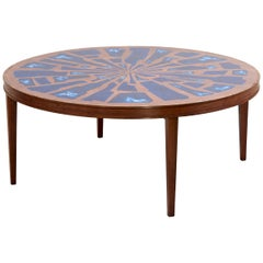 Stunning Rare Wood Coffee Table with Copper and Enamel Style Top