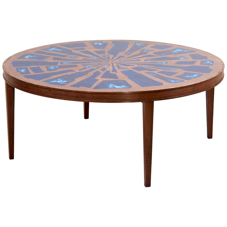 Copper And Wood Coffee Table: Stunning Rare Wood Coffee Table With Copper And Enamel