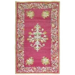 Stunning Raspberry Turkish Ghiordes Floral Carpet