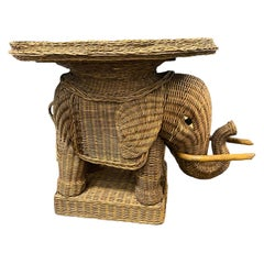 Stunning Rattan Wicker Elephant Side Table with Large Tray, France, 1960s