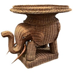 Stunning Rattan Wicker Elephant Side Table with Tray, France, 1960s