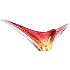 Stunning Red and Yellow Murano Glass Vase or Centerpiece, Italy, 1950s