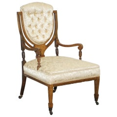 Stunning Redwood Sheraton Revival Chesterfield Library Armchair Part of a Suite