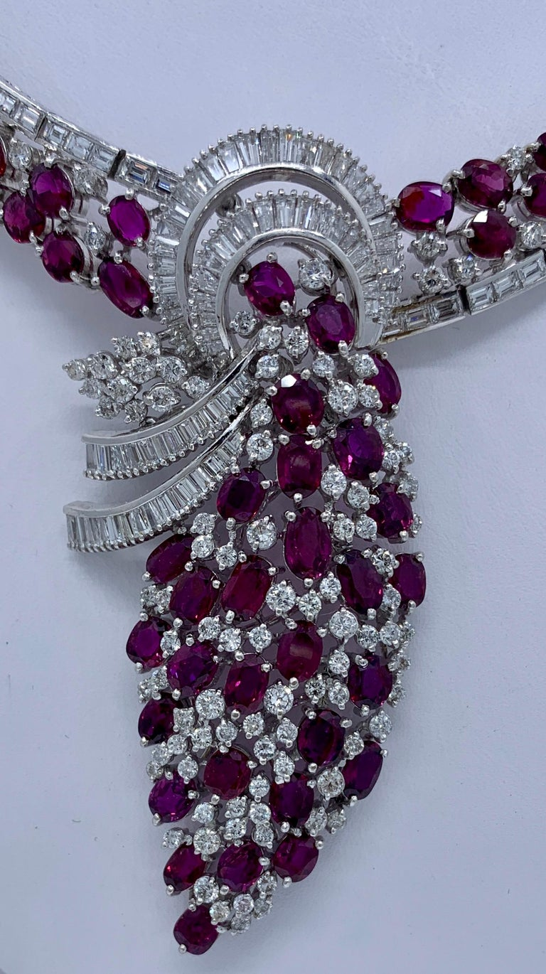 Magnificent necklace, fit for a queen, is a 70.2 total carat weight GIA Certified (Report No. 1206652363) natural (no heat treatment) corundum ruby and diamond, white gold, choker length drop necklace.  Necklace consists of a white gold, ruby and