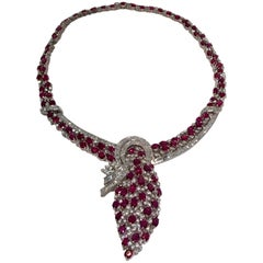Stunning Regal 70 Carat Ruby and Diamond White Gold Choker Necklace