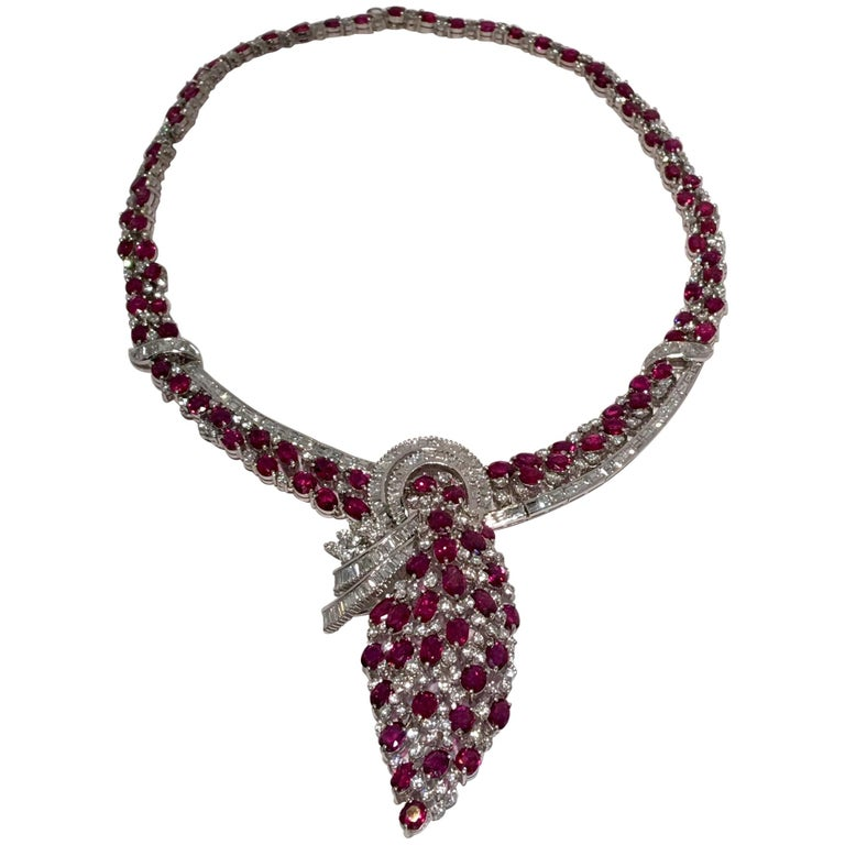 GIA Certified 70 Carat No Heat Natural Ruby and Diamond White Gold Necklace For Sale