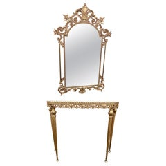 Stunning Regency Style Brass Console Table and Mirror