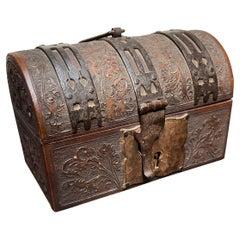 Stunning Renaissance Revival Nuptial Casket / Box, Great Patina, Lock and Key