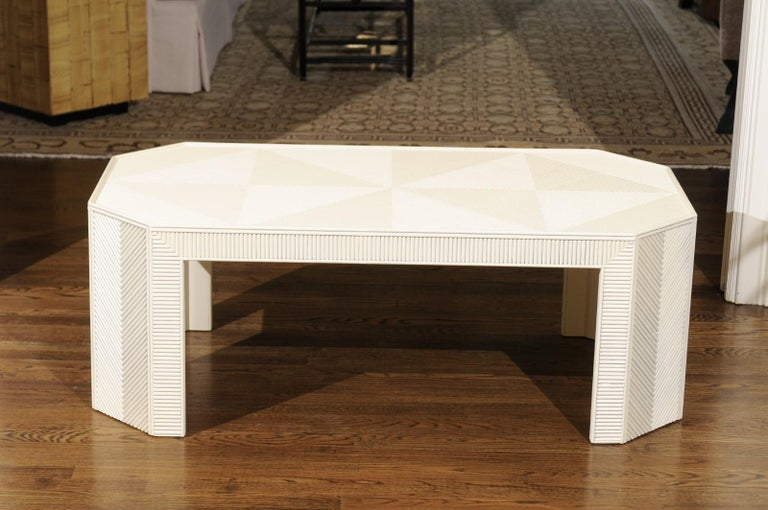 Stunning Restored Bamboo Marquetry Coffee Table or Bench, circa 1970 For Sale 4