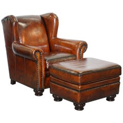 Stunning Restored Bernhardt Thick Brown Leather Armchair and Footstool