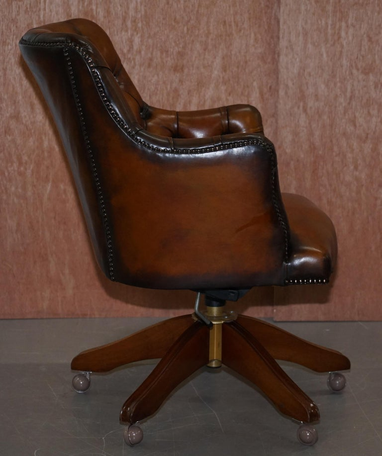 Stunning Restored Hand Dyed Whisky Brown Leather Chesterfield Directors Chair 5