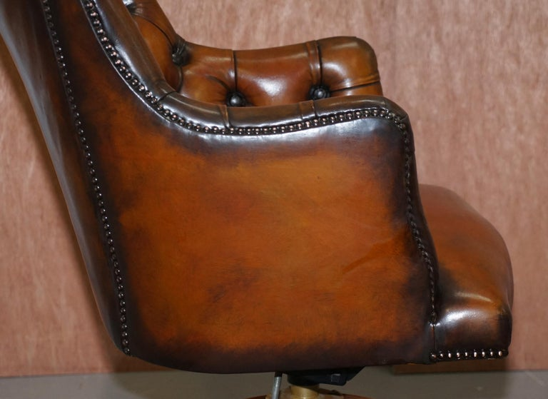 Stunning Restored Hand Dyed Whisky Brown Leather Chesterfield Directors Chair 6