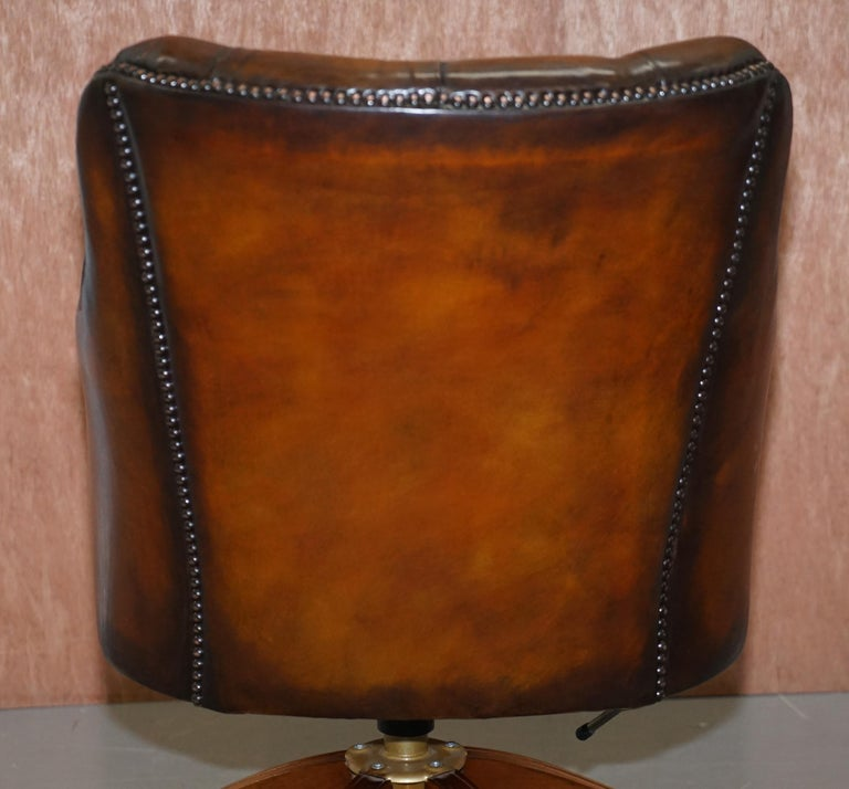 Stunning Restored Hand Dyed Whisky Brown Leather Chesterfield Directors Chair 8