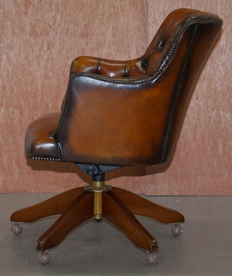 Stunning Restored Hand Dyed Whisky Brown Leather Chesterfield Directors Chair 10