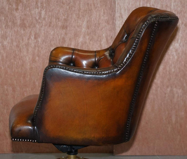 Stunning Restored Hand Dyed Whisky Brown Leather Chesterfield Directors Chair 11