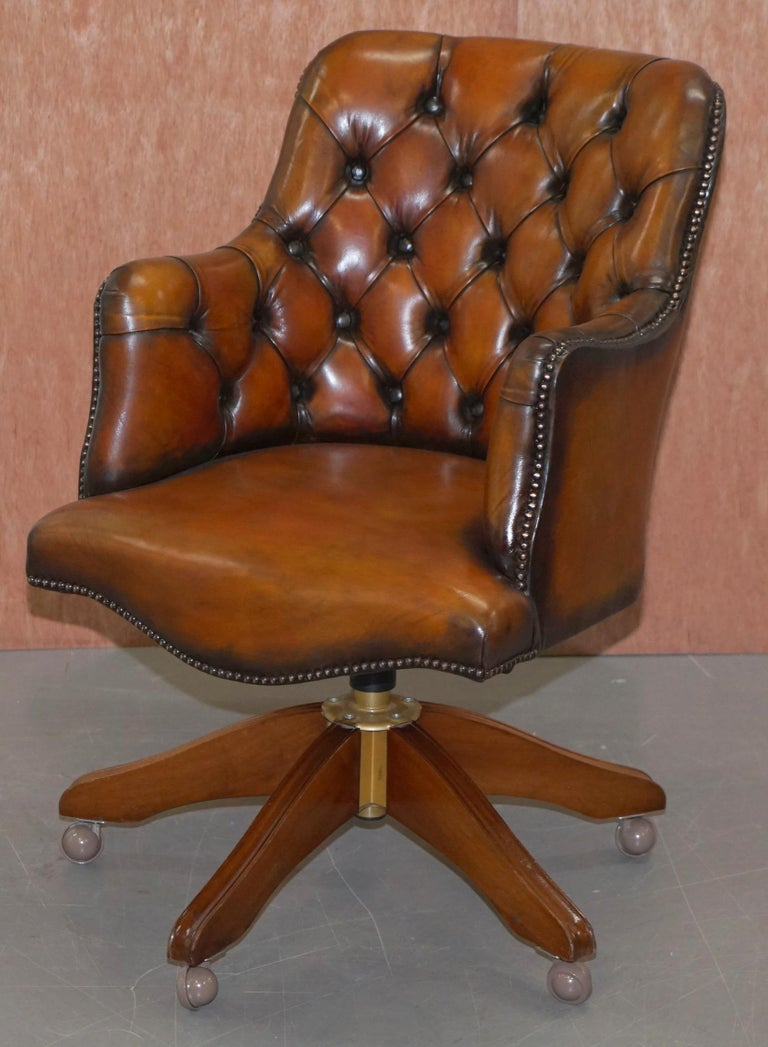 Mid-Century Modern Stunning Restored Hand Dyed Whisky Brown Leather Chesterfield Directors Chair