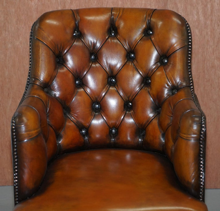English Stunning Restored Hand Dyed Whisky Brown Leather Chesterfield Directors Chair