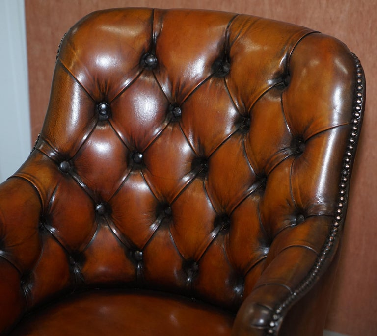 Hand-Crafted Stunning Restored Hand Dyed Whisky Brown Leather Chesterfield Directors Chair