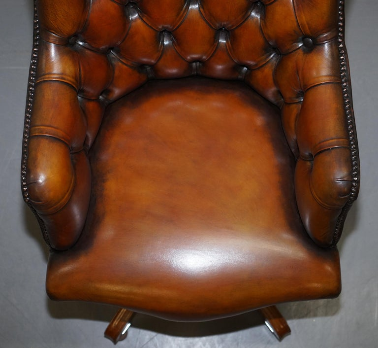 20th Century Stunning Restored Hand Dyed Whisky Brown Leather Chesterfield Directors Chair