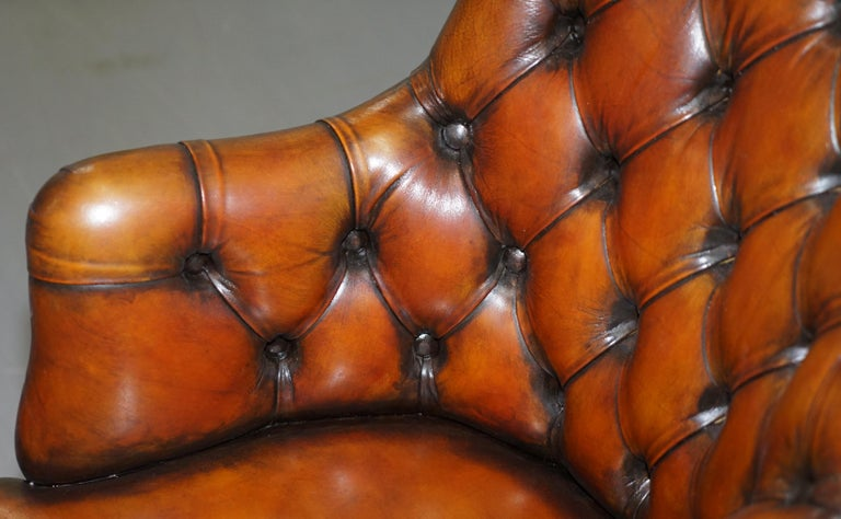Stunning Restored Hand Dyed Whisky Brown Leather Chesterfield Directors Chair 1