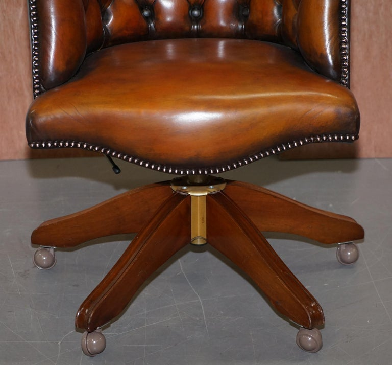 Stunning Restored Hand Dyed Whisky Brown Leather Chesterfield Directors Chair 2
