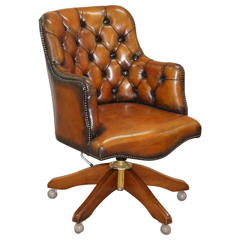Stunning Restored Hand Dyed Whisky Brown Leather Chesterfield Directors Chair